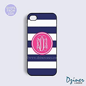 Personalized Your Initials iPhone 6 Case - 4.7 inch model - Blue White Stripes Pink Circle iPhone Cover