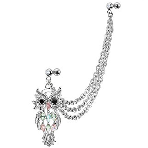 [Marquise Gemmed Owl Double Cartilage/Tragus Barbell Chain Linked Dangle 16g (Black Eyes Owl)] (Double Linked Chain)