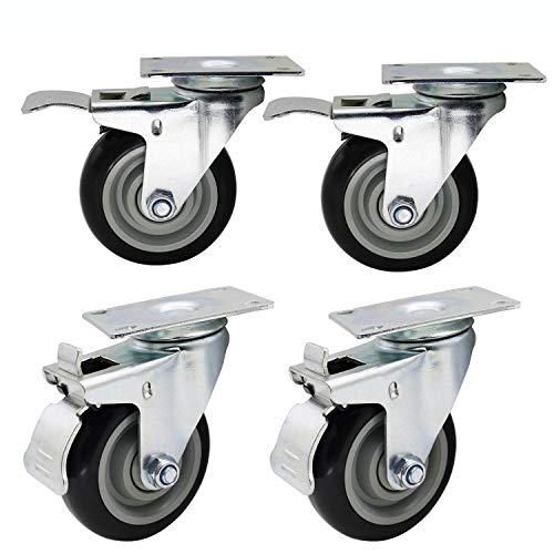 Dr.Luck 4 Inch Black PU Rubber Swivel with Brake Heavy Duty Caster Wheel Double Ball Bearing 360 Degree Top Plate Total Load Capacity 1200 Lbs - 300 Lbs per Caster, Set of 4 ()