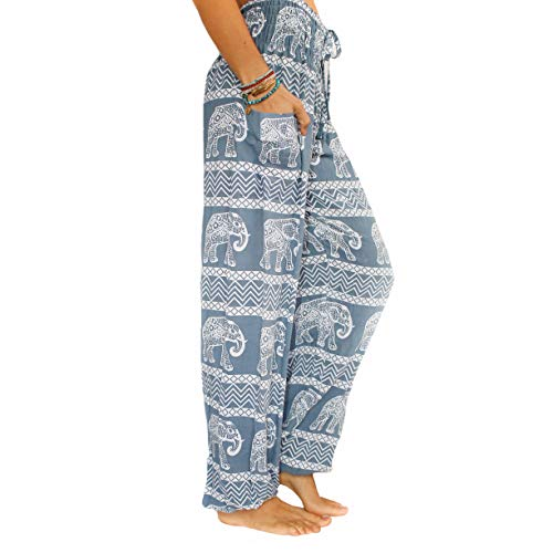 PI Yoga Pants Women's Petite Scrunched Bottom, Loose Comfortable Boho Athleisure Wear, (One Size, Stretches 0-12) - Grey
