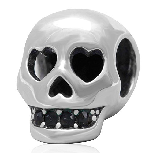Skull Charm - 925 Sterling Silver Beads Head Hole Charm Teeth Zircon Charm Halloween Charm Beads fit DIY Bracelet