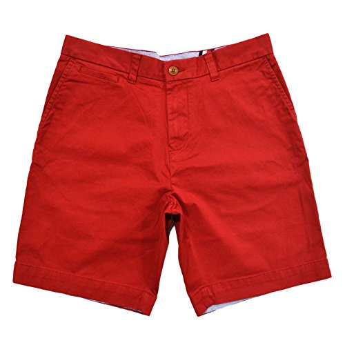 Tommy Hilfiger Mens Flat Front Shorts (36, Red)