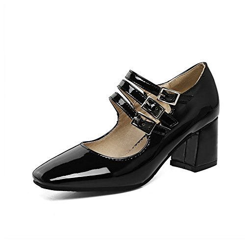 Black Square 32 Solid Kitten shoes heels Odomolor Buckle Pu Women's Pumps toe CvRwPfq4F