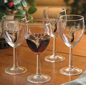 Elk Portrait White Wine Glasses by Rosemary Millette (Portrait Elk)
