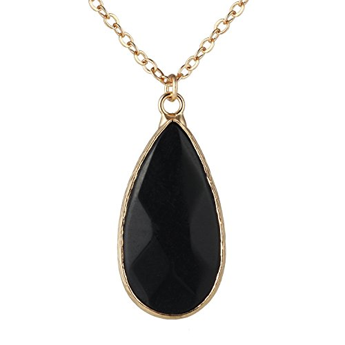 Women's Gold Plated Chain Wrapped Natural Stone Crystal Drop Pendant Necklace (Black) ()