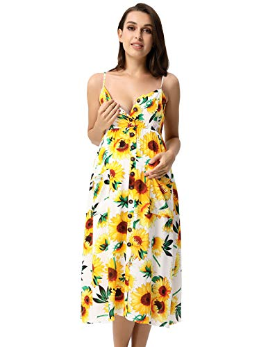 Women Spaghetti Strap Button Down Maternity Sunflower Dress with Pockets 1021-2 ()