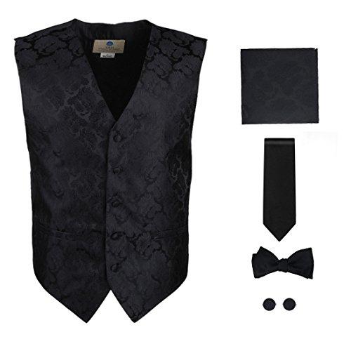 Mens Designer Black pattern Tuxedo for men Vest Set Match Necktie Cufflinks Bowtie Hanky Set for Suit Vs1010-L Large Black