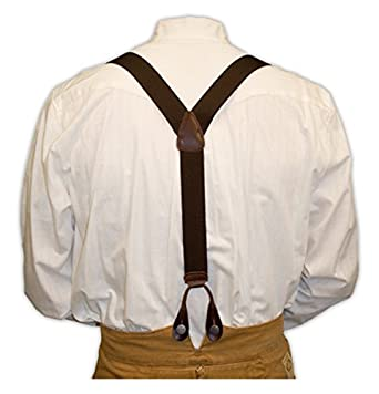 Victorian Men's Cane, Pocket Watch, Spats, Suspenders Elastic Y-Back Braces $25.95 AT vintagedancer.com