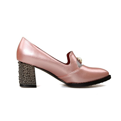 AmoonyFashion Womens Pu Kitten Heels Pointed Closed Toe Solid Pull On Pumps-Shoes Pink KMRiAIxzp