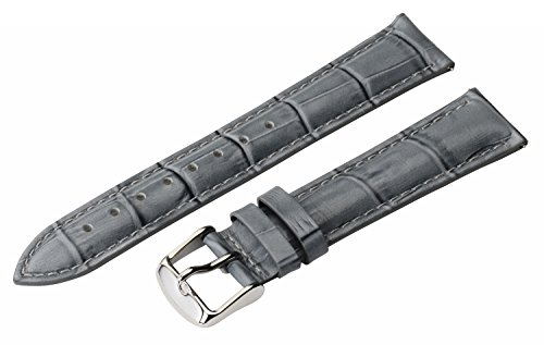 Womens Interchangeable Leather Strap - 18mm 2 Piece Ss Leather Classic Croco Grain Solid Grey Interchangeable Replacement Watch Band Strap