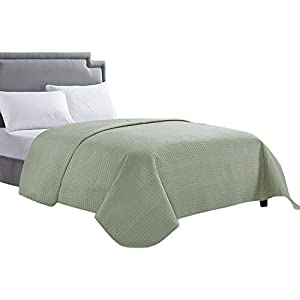 HollyHOME Luxury Checkered Super Soft Solid Single Pinsonic Quilted Bed Quilt Bedspread Bed Cover, Sage, Full/Queen