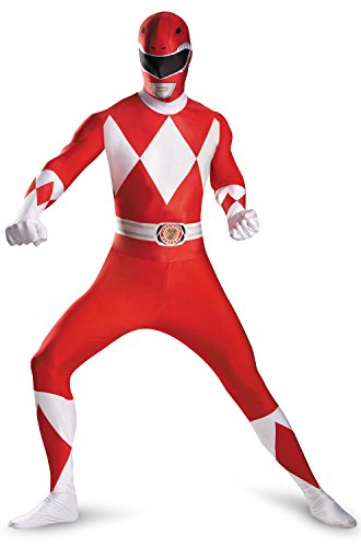 [Disguise Sabans Mighty Morphin Power Rangers Red Ranger Bodysuit Adult Costume, Red/White,] (White Ranger Adult Costumes)