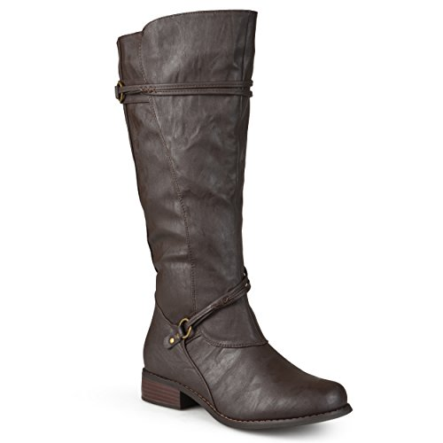 e71a3a8fc724 Journee Collection Womens Regular Sized and Wide-Calf Ankle-Strap Buckle  Knee-High Riding Boots Brown