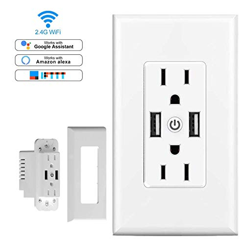 Smart WiFi Wall Outlet, Top & Bottom Outlets are Independently Controllable, Duplex Receptacle Socket, Compatible with Alexa Dot Echo Plus Google Assistant IFTTT, No Hub Required