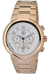 Philip Stein Men's 32-ARGW-RGSS Quartz Gold Plated Chronograph White Dial Watch
