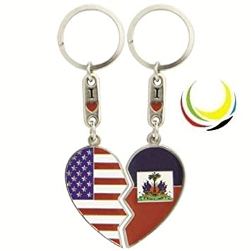 Amazon.com: Keychain USA & HAITI HEART: Automotive