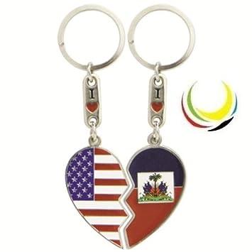 Amazon.com: Llavero EE. UU. & Haití Corazón: Automotive