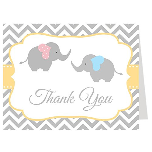 Elephant Thank You Cards, Twins, Chevron, Stripes, Baby Shower, Sprinkle, Little Peanut, Boy, Girl, Pink, Blue, Gray, Grey, 50 Printed Folding Notes with White Envelopes, Chevron Elephant Twin