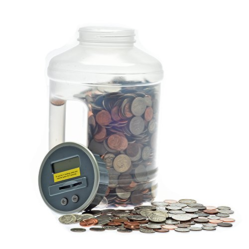 Jumbo Digital Coin Counter by Digital Energy Pennies Nickles Dimes Quarter Savings Jar | Clear Jar w/LCD Display