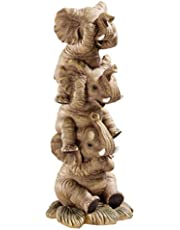 Design Toscano Hear-No, See-No, Speak-No Evil Stacked Elephants Collectible Statue, 25.5 cm, Polyresin, Full Color