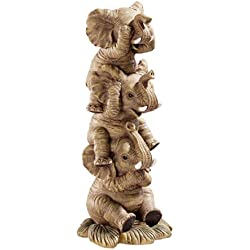 Design Toscano Hear-No, See-No, Speak-No Evil Stacked Elephants Statue Gifts