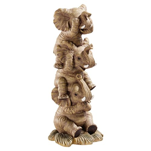 (Design Toscano Hear-No, See-No, Speak-No Evil Stacked Elephants Collectible Statue, 10 Inch, Polyresin, Full Color)