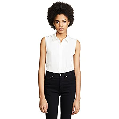 Theory Women's Sleeveless Button Front Tanelis Blouse: Clothing