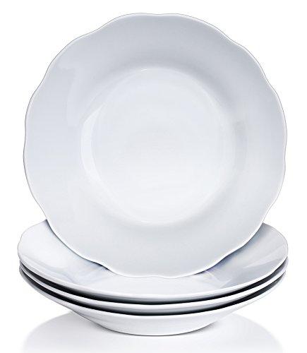 YHY 9-inch/15oz Porcelain Scallop Soup Bowls, White Pasta/Salad Bowl Set, Set of 4 (Pasta Salad Bowl)