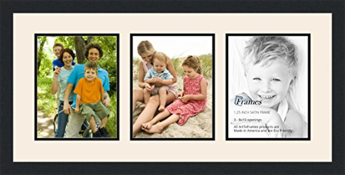 ArtToFrames Collage Photo Frame Double Mat with 3 - 8x10 Openings and Satin Black Frame (Frames Collage Christmas)