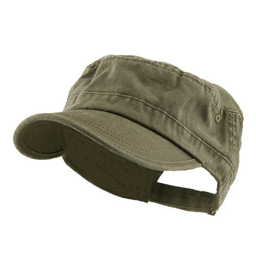Military Cap Hat Olive (Enzyme Regular Solid Army Caps-Olive W35S45D (One)