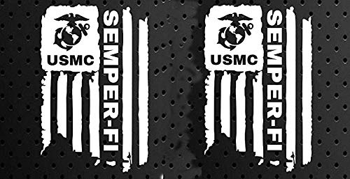 Distressed USMC United States Marine Corps Flag SEMPER-FI Sticker Bumper Vinyl Car Decal Truck Window Laptop Army US ()
