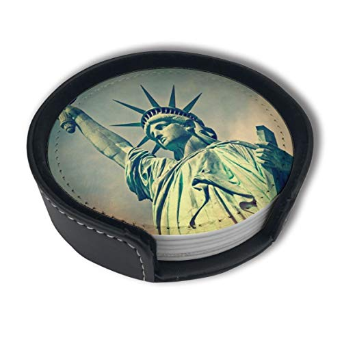 HBLSHISHUAIGE Flame Statue of Liberty Coasters with Holder Set,Round Mugs and Cups Mat Pad for Drinks,Suitable for Home and -