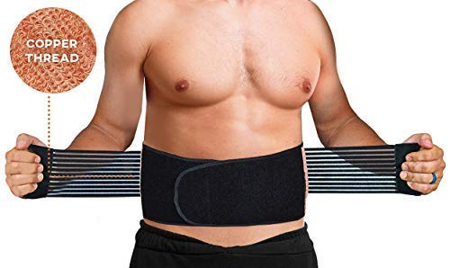 Copper Back Support Brace - Breathable Mesh & Dual Adjustable Straps - Anti Microbial - Helps Lumbar Pain, Back Pain, Lower Back Support (L/XL Navel: 37