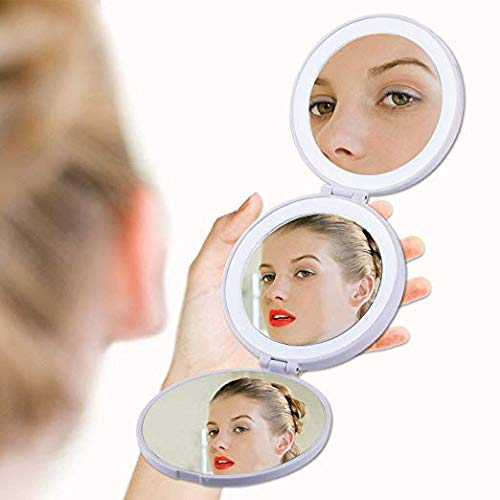 Compact Mirror with light, Lighted Travel Makeup Mirror 5X/10X Magnification Makeup Vanity Mirror Portable 【Three Folding】 (White) Lighted Travel Makeup Mirror 5X/10X Magnification Makeup Vanity Mirror Portable 【Three Folding】 (White)
