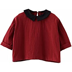 Birdfly Toddler Baby Girls Peter Pan Collar Shirt Kids Long Sleeve Blouse Basic Tops Outfit (3 Years, Wine)