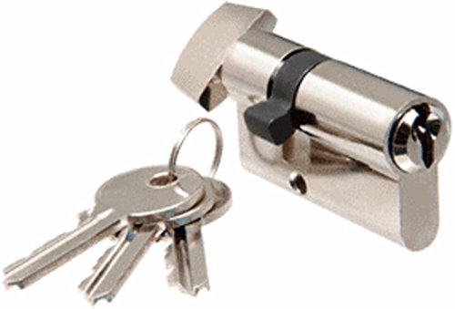 C.R. LAURENCE EC4PS CRL Polished Stainless Keyed Cylinder Lock With Thumbturn (Thumbturn Cylinder Stainless)
