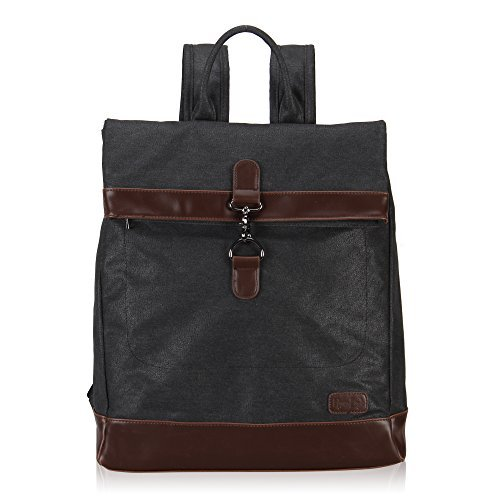 Hynes Eagle Stylish Roll Top Canvas Backpack Lightweight Travel Bag Matte Finish Black - Fold Over Leather