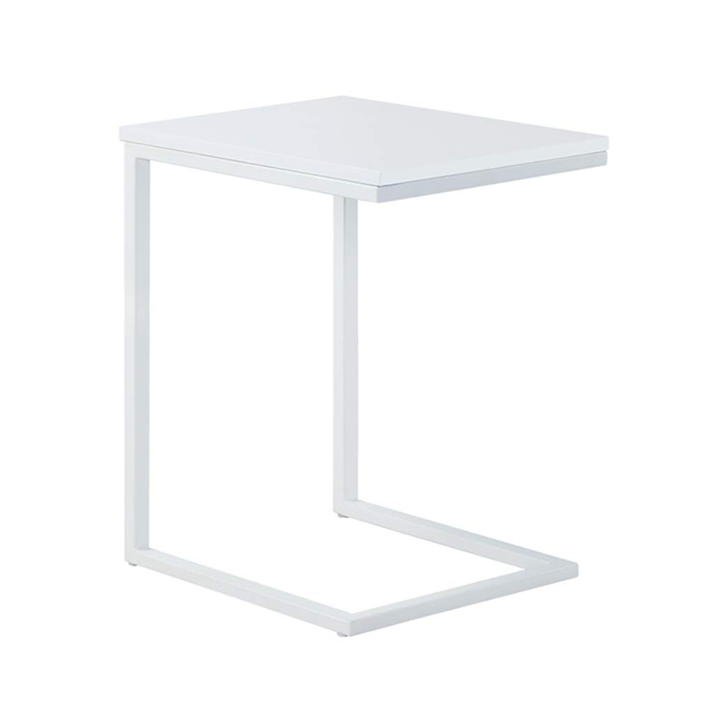 LYR Simple Industrial Style Coffee Table, C-Shaped Sofa Side End Table with Wood Finish and Steel Construction, 403060cm (Color : White) by LYR