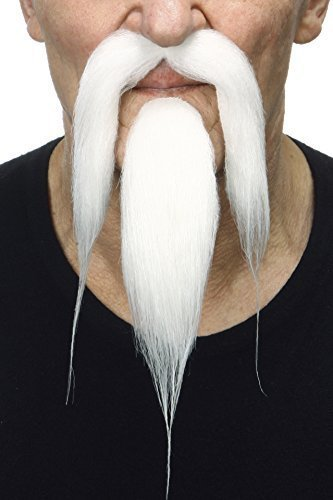 Shaolin white fake beard and mustache, self adhesive (Beard And Mustache Costumes)