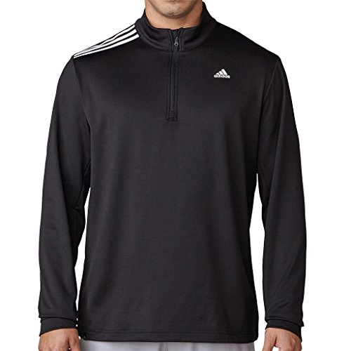 Adidas Terry Pullover (Adidas Golf 2017 3-Stripes French Terry 1/4 Zip Pullover Training Mens Golf Sweater Black Large)