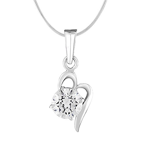 Mahi with Swarovski Zirconia Solitaire Floral Rhodium Plated Victorian Pendant For Women PS1105020R