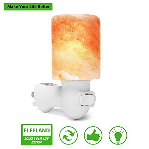Himalayan Salt Lamp, Elfeland Natural Crystal Salt Lamp Night Light with UL Listed Plug for Lighting, Decoration and Air Purifying