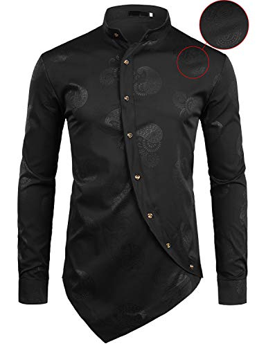 Z55 Pack (ZEROYAA Men's Hipster Paisley Printed Long Sleeve Mandarin Collar Shirts with Irregular Hem Z55 Black Large)