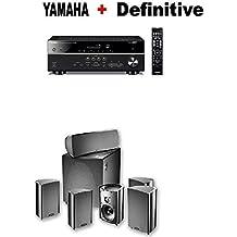 Yamaha RX-V485BL 5.1-Channel 4K Ultra HD AV Receiver + Definitive Technology ProCinema 600 5.1 Home Theater Speaker System Bundle