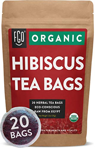 Organic Hibiscus Tea Bags | 20 Tea Bags | Eco-Conscious Tea Bags in Foil Lined Kraft Pouch | Raw from Egypt | by FGO