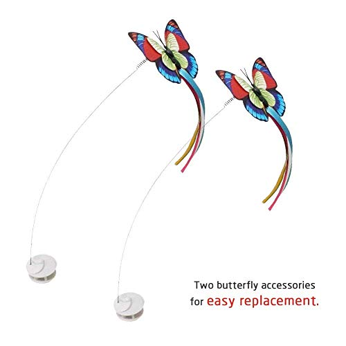 Zenes Cat Toys - Funny Exercise Electric Flutter Rotating Kitten Toys, Cat Teaser with Butterfly Replacement 6