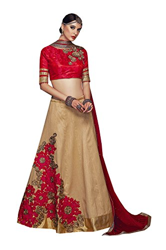 Da Facioun Womens Silk Fabric Brown Pretty Unstitched Lehenga Choli 84053
