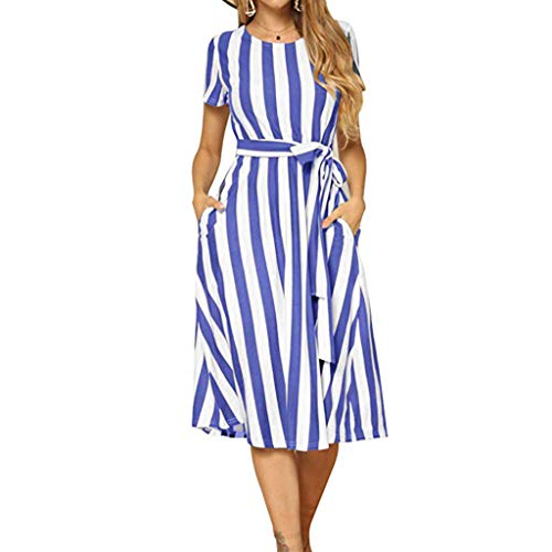 Sengei Womens Dress Loose Casual Summer Short Sleeve Stripe Dress with Belt