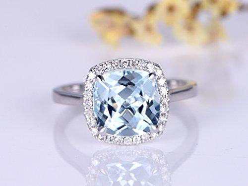 Solid 14K White Gold Cushion Aquamarine Engagement Ring 8mm gemstone Wedding ring Halo Bridal set Promise Diamond Ring by Gulajewel