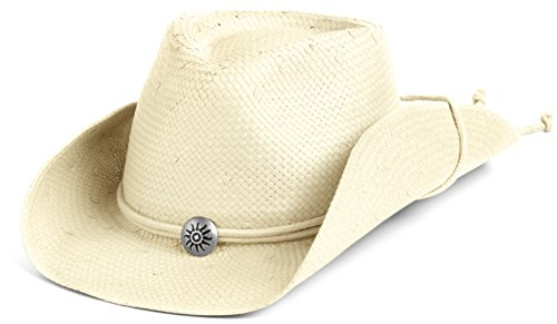 Scala Women's Shapeable Toyo Western Hat, Natural, Small/Medium